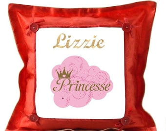 Red Princess pillow personalized with name