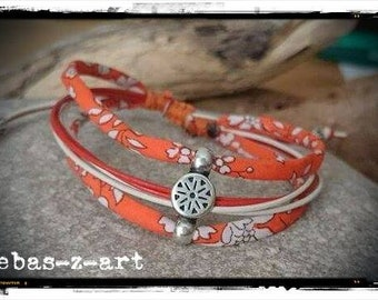 MULTISTRAND bracelet in leather and liberty in Orange tones