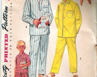 Vintage 1955 Simplicity 1434  Boys Pajamas in Two Lengths Sewing Pattern Size 6 Chest 24""