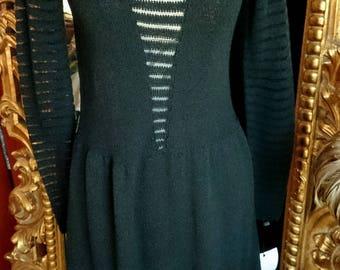 1960's Adolfo for Saks Fifth Avenue Black Knit Dress