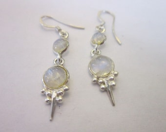 Vintage Sterling Silver & Rock Crystal Dangle Earrings