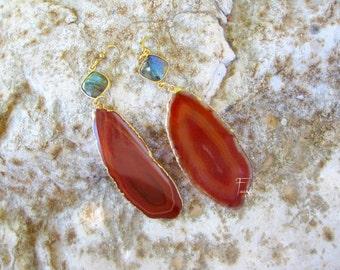 Greek Summer sunset - Orange Brazilian Agate Slice Earrings , Geode Druzy - OOAK