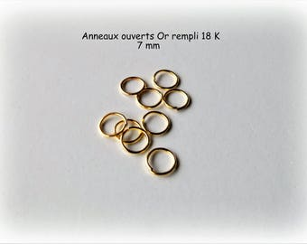 Jump rings open 3, 5, 7 and 9 mm 18 K Gold filled (X 5 or 10)