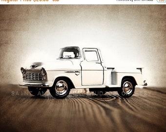 FLASH SALE til MIDNIGHT Vintage White 55 Chevy Truck Photo Print, Rustic Decor, Boys Nursery decor, old truck prints