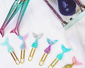 Glitter Mermaid Tail Clip, Planner Paper Clips, Mermaid Accessories, Planner Stationary Accessories, Cute Kawaii Paperclips, Office Supply