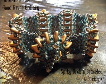 NEWLY RELEASED Bead Tutorial Spiky Urchin Beaded Bracelet odd-count peyote stitch pattern instructions by Hannah Rosner