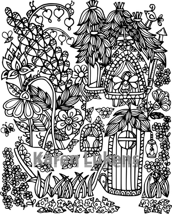 Happyville Fairy House 2 1 Adult Coloring Book Page