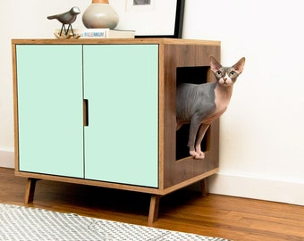 covered cat litter box furniture. Mid Century Modern Cat Litter Box Furniture | LARGE Cover Pet House Covered U