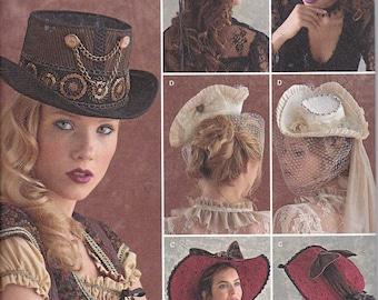 Simplicity 8361 Misses Wide Brim Tricorne Steampunk Top Hats Sewing Pattern Sizes S-L New UNCUT