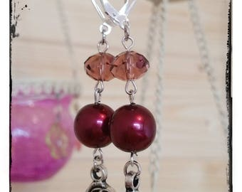 Crystal earrings and eggplant glass beads