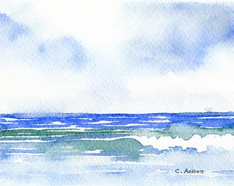 Miniature Seascape Painting Original Watercolor