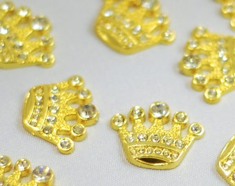 GOLD Wholesale 1 Crown Flat Back Clear Rhinestone Embellishments