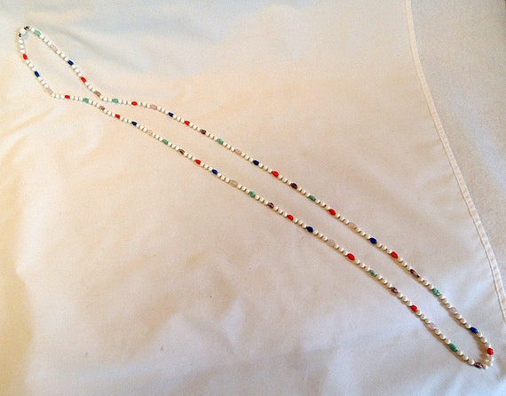 Vintage Milk Glass & Multicolor Bead Beads FLAPPER NECKLACE.. 60 Inches Knotted