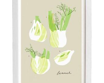 "Fennel - Vegetable art print - 11""x15"" - archival fine art giclée print"