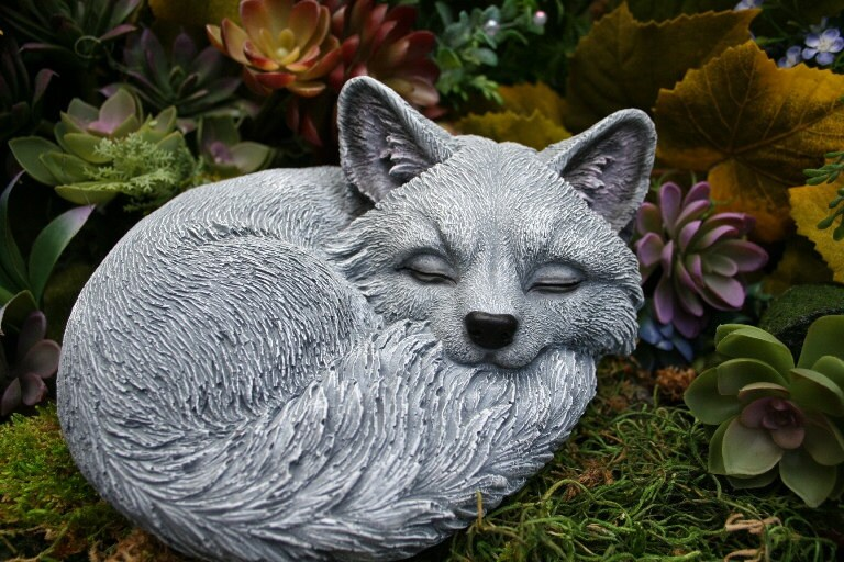 Sleeping Fox Statue Outdoor Sculpture Cute Concrete Decor