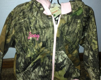 Personalized Baby Girl Girls Pink Trim  Mossy Oak or Realtree Camo Camouflage Sweat Jacket Embroidered Size 6/12 months