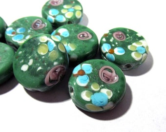 20mm Green Floral Lampwork Beads VINTAGE Glass Lampwork Eight (8) Lampwork Beads 20mm Vintage Jewelry Beading Supplies (M54)