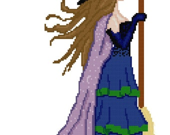 Witch with broom PDF cross stitch pattern