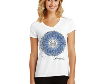 MERMAID, SEA TURTLE, Blue Mandala, T-shirt –, Tri-blend tee – handmade in Hawaii