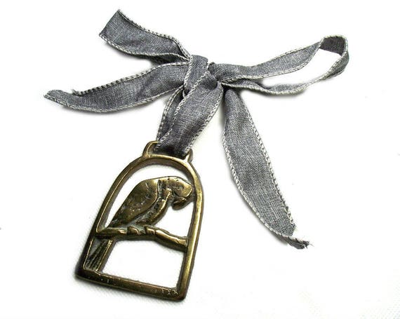 Vintage Parrot Horse Brass on Ribbon