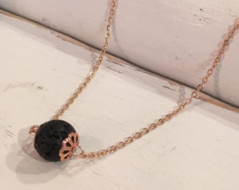 Essential Oil Diffuser Lava Stone Aromatherapy Rose Gold Necklace
