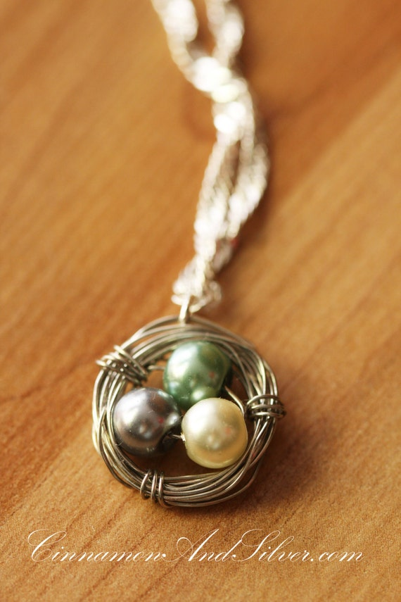 Wire wrapped pearls bird nest pendant necklace eggs in a nest aloadofball Choice Image