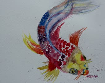 watercolor colorful fish