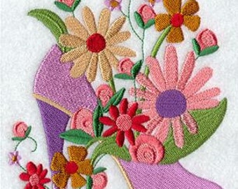 Embroidered Kitchen Towels, Tea Towels, Fashion Flower Diva Sole Towels