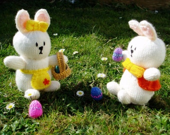 PDF Knitting Pattern - Bob and Babs, the Easter Bunnies