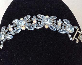 Gorgeous Pale Blue and Aurora Borealis Rhinestone Bracelet