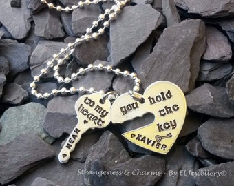 Hand stamped Personalised 'Key to my Heart' Necklace, Valentines Gift, Heart and Key Jewellery, Metal Jewelry, Couples, Name Jewellery,