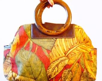 Vintage Rainforest Tropical Purse / Retro Banana Leaf Bag / 90s Tropical Handbag with Wood Handles