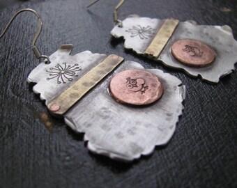 Copper Jewelry Earrings, Mixed Metal Earrings, Hammered Earrings, Geometric Earrings, Modern Earrings, Drop Earrings, Rustic Metal Earrings