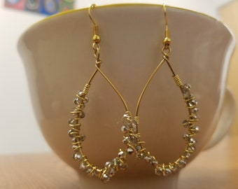 Big Elegant Night Out Wire-Wrapped Silver and Gold Teardrop Hoop Dangle Earrings
