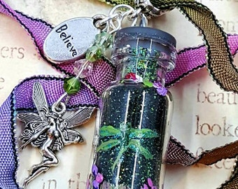 "NEW ""Black Magic"" Dragonfly Fairy Magic Bottle Necklace, Hand Painted, Swaroski Crystals Repurposed Miniature Glass Bottle, Hand Dyed Ribbon"