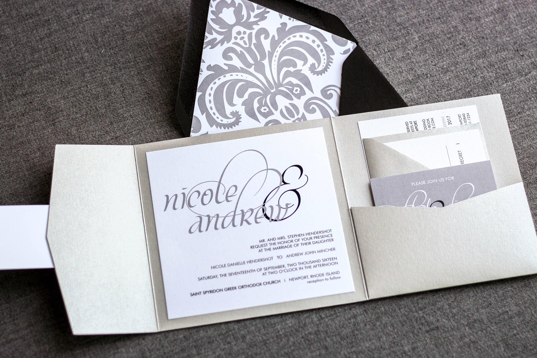 Silver Wedding Invitations Pocketfold Wedding Invites Formal
