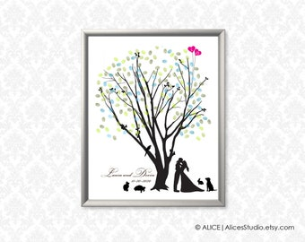 Wedding Tree and Kissing Couple Silhouette Guest Book - Personalized Fingerprint & Signature Print - Canvas, Paper or Digital Printable