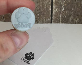 Paw Print Rubber Stamp - Dog paw Cat paw with personalized name - Best Gift for Fur Parents - Card Signing