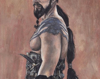 Khal Drogo Jason Momoa Game of Thrones Acrylic Painting Art Print 11.7 x 16.5 inches