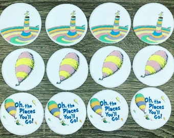 Oh The Places You'll Go Cupcake Toppers, Oh The Places You'll Go Fondant, Dr. Seuss Cupcake Toppers, Geaduation Cupcakes