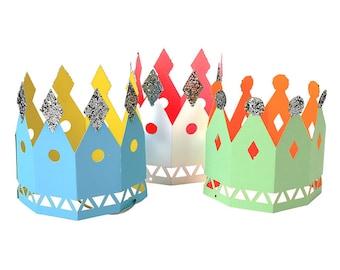 Meri Meri Party Crowns (8), Kids Party Hats, Paper Crowns, Birthday Crowns, 1st Birthday Crown, Glitter Crown, Kids Crown, Party Decorations