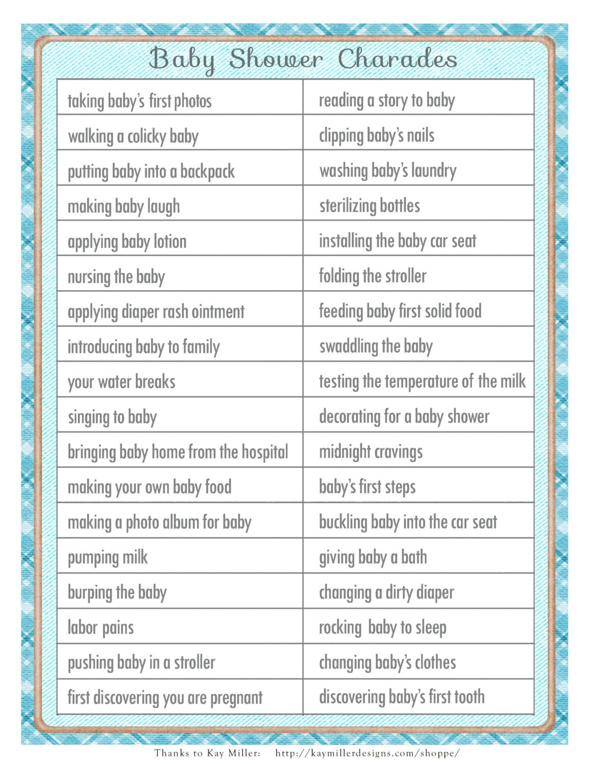 CHARADES baby shower game in a vintage style with blue