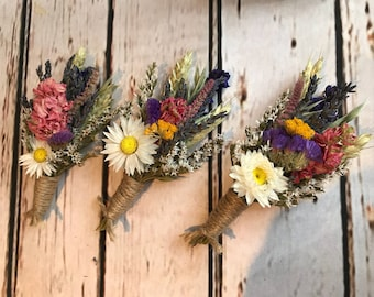 Beautiful Bespoke Dried Flower Wedding Buttonholes. Made from natural flowers and grasses for a rustic, vintage, wild or country feel.