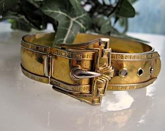 Golden Buckle Bracelet, Ornate Victorian-Edwardian Revival, Top-Closure Cuff Three-Size Adjustable Closure