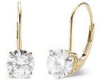 Genuine Diamond solitaire lever back 14k Gold earrings