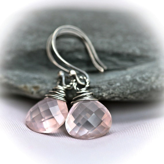 Rose Quartz - Wire Wrapped Blackened Sterling Silver Hoop Earrings