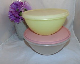 Vintage Tupperware  clear nesting bowls with lids #235 #236 sheer yellow Set of two
