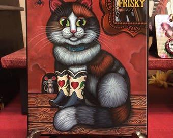 Colorful Cat Prints, Colorful Cat Art Prints, Colorful cat folk art, Cat Art Painting, Puss In Boots art, rainbow cat art, whimsical cat art
