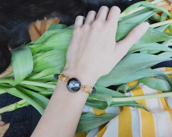 Antique Brass, Black Bracelet, Tribal Bracelet, Statement Bracelet, Brass Bracelet, Antique Bronze, Porcelain Bracelet, Stackable Bracelet