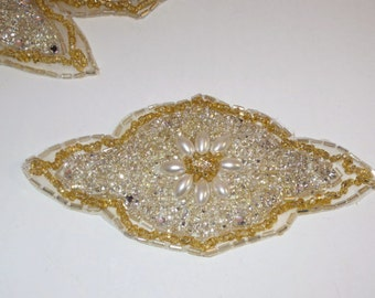 Rhinestones Pearls and Gold Beaded Applique--One Piece